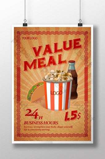cartel de comida retro de moda Modelo PSD