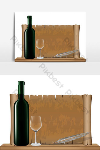 Bottle wine and Old vintage scroll on wood shelf vector graphic element PNG Images Template AI