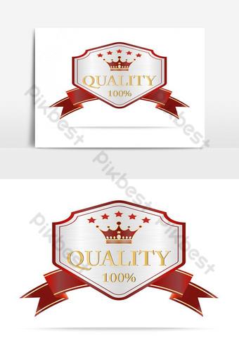 elemento gráfico de vector de etiqueta de escudo de calidad de plata y rojo de lujo Elementos graficos Modelo AI