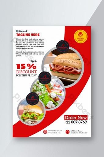 Conception de flyer de restaurant rouge Modèle AI