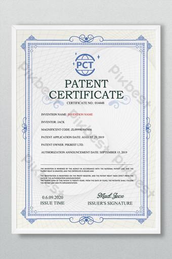 Niebieski europejski certyfikat patentowy Szablon PSD