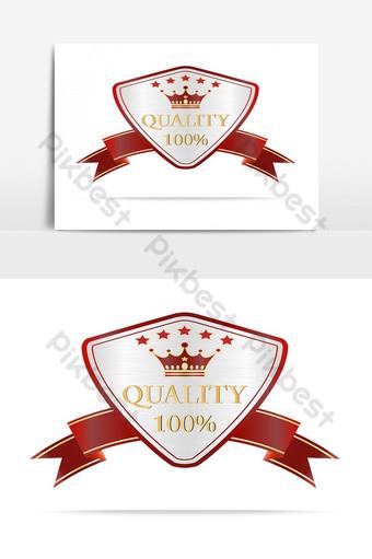 Elemento gráfico de vector de etiqueta de escudos de calidad de plata y rojo de lujo Elementos graficos Modelo AI