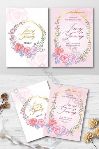 Carte de modèle pour les fleurs de mariage peintes avec une carte d'invitation aquarelle Modèle AI