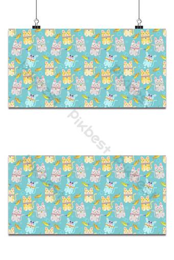 vector patrón sin fisuras con coloridos gatos y peces sobre fondo azul Fondos Modelo EPS