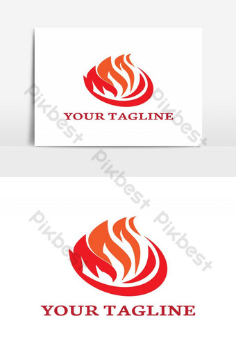 gas service fiery flame logo Vector Graphic Element PNG Images Template AI