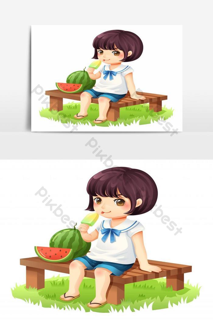 Gadis Itu Sedang Makan Es Krim Sambil Duduk Di Kursi Kayu Vector Graphic Element Elemen Grafis Templat Eps Unduhan Gratis Pikbest
