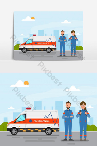 ambulance medical service carrying patient with men and women vector graphic element PNG Images Template EPS