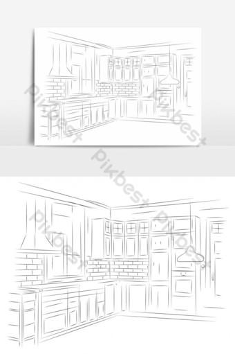 vista en perspectiva de arte lineal del elemento gráfico de vector de cocina Elementos graficos Modelo EPS
