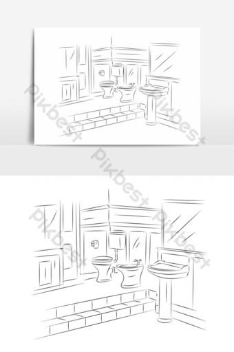 vista en perspectiva de arte lineal del elemento gráfico de vector de baño Elementos graficos Modelo EPS