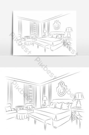 vista en perspectiva del elemento gráfico de vector de dormitorio Elementos graficos Modelo EPS
