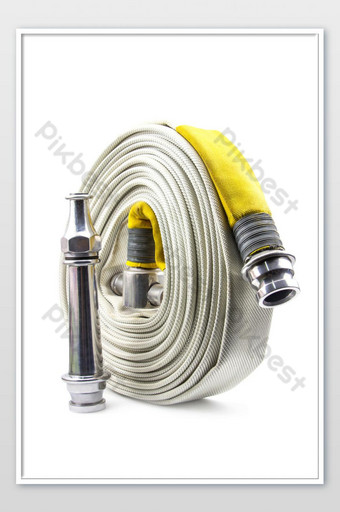 Fire extinguisher and fire hose reel inside the building on isolated a white backdrop Photo Template JPG