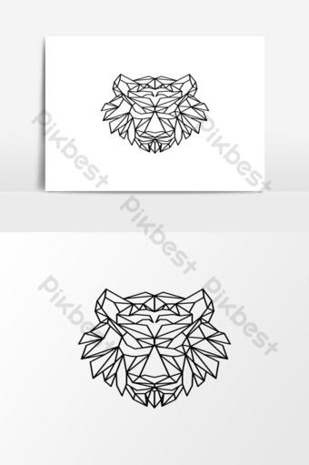elemento gráfico de vector de logotipo de cabeza de tigre triángulo Elementos graficos Modelo EPS
