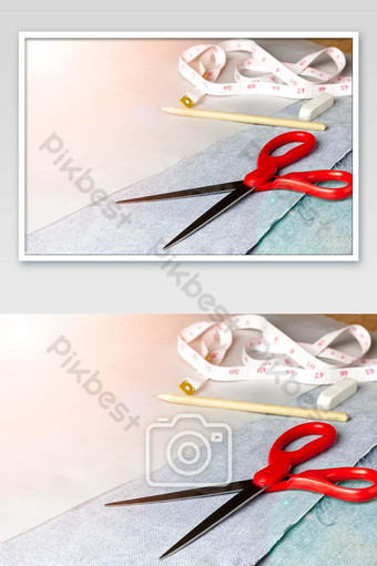 معدات لقطع نسيج الجينز الصورة التصوير قالب JPG
