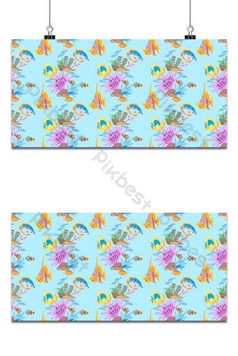 Coloridos peces de mar de patrones sin fisuras para el fondo de papel tapiz textil de tela Fondos Modelo EPS