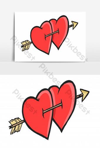 dibujo a mano corazones gemelos perforados con flecha elemento gráfico vectorial Elementos graficos Modelo EPS
