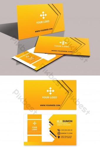 Conception de carte de visite créative de couleur orange Modèle PSD