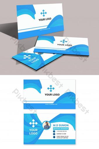conception de carte de visite bleue impressionnante moderne élégante Modèle PSD