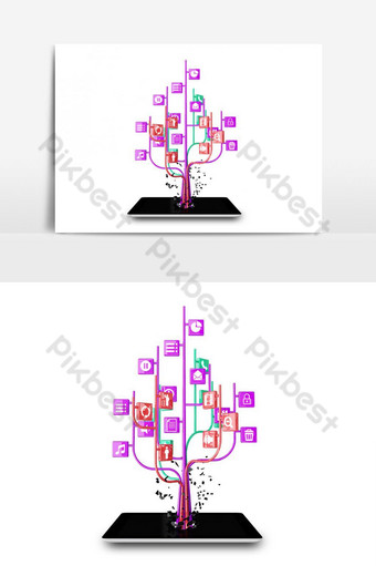iconos de redes sociales en forma de árbol en un elemento gráfico de vector de tablet pc negro moderno Elementos graficos Modelo PSD
