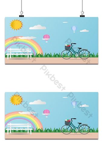 tarjeta de amor dia de san valentin bicicleta globo arcoiris y corazon fondo azul suave Fondos Modelo EPS