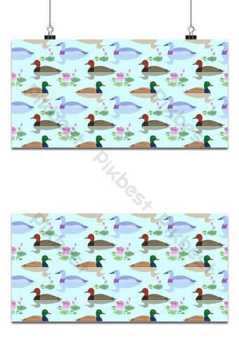 Hermoso pato nadando en el estanque de fondo de flores de loto Fondos Modelo EPS