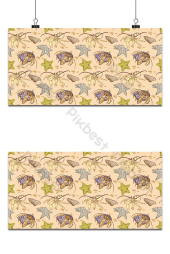 Sea shell and hermit crab seamless pattern Background Backgrounds Template EPS