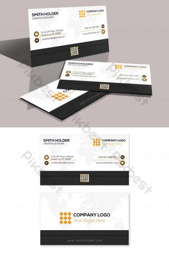 tarjeta de visita creativa de rayas blancas y negras Modelo PSD
