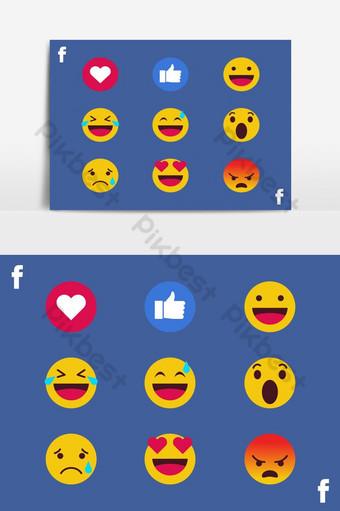 Kolekcja wektor emotikonów na Facebooku Elementy graficzne Szablon EPS