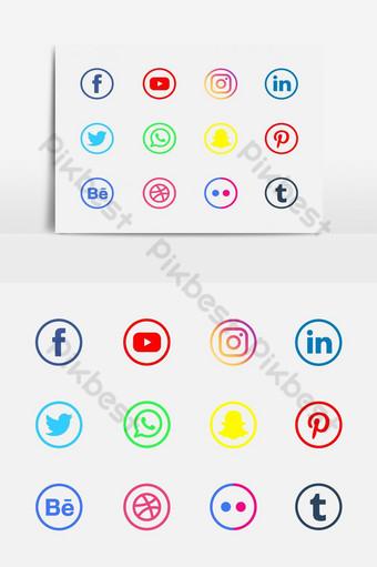 conjunto de iconos de redes sociales de colores redondos Elementos graficos Modelo EPS