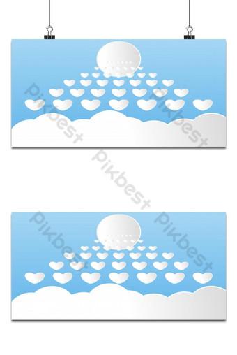 arte de papel moderno cortar nubes con el sol cielo de dibujos animados lindo blanco fondo esponjoso Fondos Modelo EPS