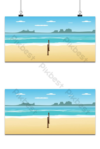Volleyball on the beach in summer holidays and seascape view background Backgrounds Template EPS