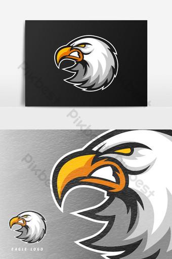 elemento gráfico de vector de logotipo de mascota de juego de eagle enojado esport Elementos graficos Modelo PSD