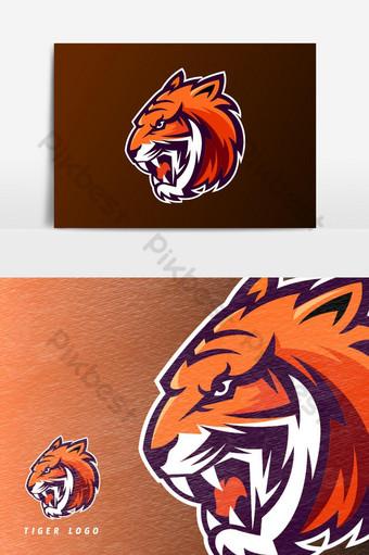 elemento gráfico de vector de logotipo de mascota de juego de tigre naranja Elementos graficos Modelo PSD