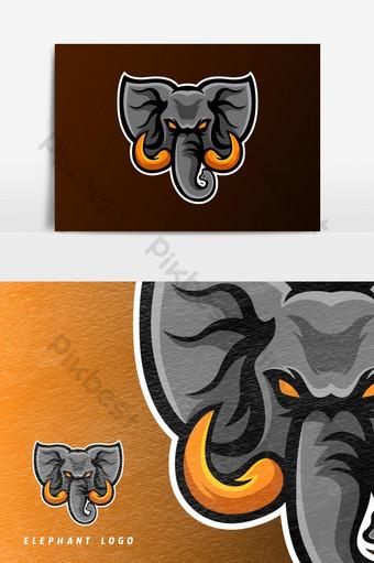 elemento gráfico de vector de logotipo de mascota de juego de esport elefante enojado Elementos graficos Modelo PSD