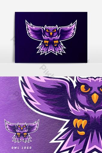 elemento gráfico del vector del logotipo de la mascota del juego del esport del pájaro del búho púrpura Elementos graficos Modelo PSD