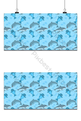 Dolphin family and sea lion seamless pattern Background Backgrounds Template EPS