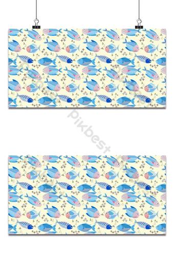 Diseño de vectores de peces sobre fondo amarillo de patrones sin fisuras fondo de textiles de tela Fondos Modelo EPS