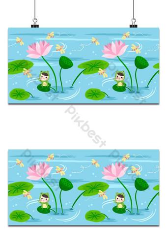 Patrón sin costuras niños felices en traje de rana sentarse en el fondo de la hoja de loto Fondos Modelo EPS