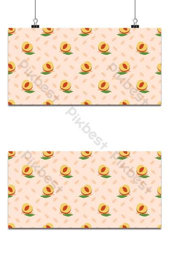 melocotón de patrones sin fisuras melocotones con hojas verdes fondo rosa claro Fondos Modelo EPS