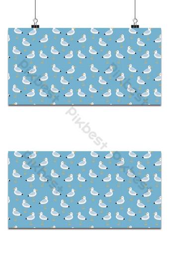 Cute seagulls seamless pattern light blue background Backgrounds Template EPS