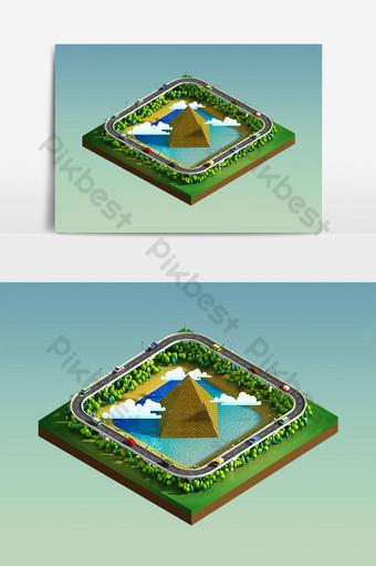 пирамида зеленая земля концепция в изометрической проекции векторный графический элемент Графические элементы шаблон PSD