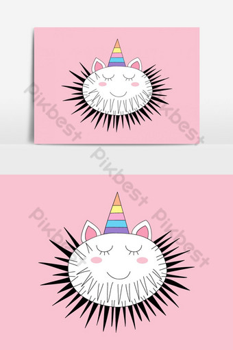 Cute sea urchin cartoon hand drawn Vector Graphic Element PNG Images Template EPS
