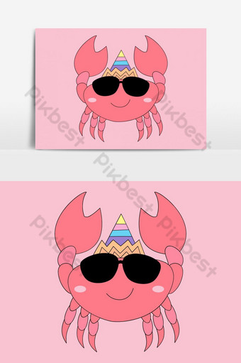 Cute crab cartoon hand drawn style Vector Graphic Element PNG Images Template EPS