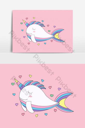 elemento gráfico de vector de estilo dibujado a mano de dibujos animados lindo pez unicornio Elementos graficos Modelo EPS