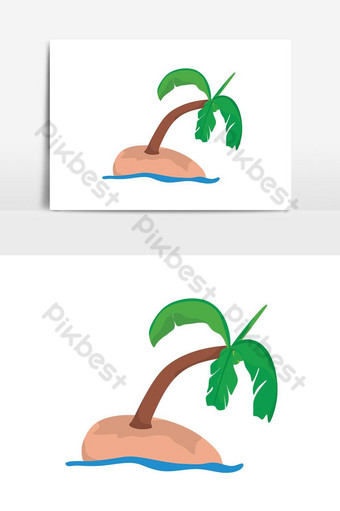 Yếu tố đồ họa vector đảo dừa đơn giản Công cụ đồ họa Bản mẫu PSD