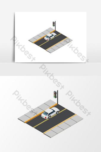 un coche se detiene para la señal de tráfico elemento gráfico de vector de dibujos animados isométrica Elementos graficos Modelo EPS