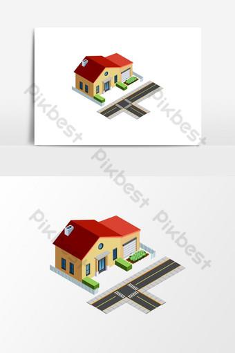 elemento gráfico de vector de dibujos animados isométrica de paisaje de casa Elementos graficos Modelo EPS