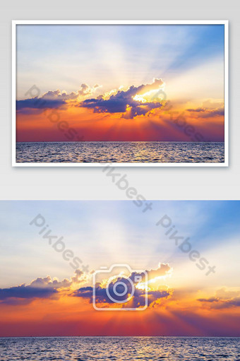 Beautiful sunset above the sea reflected on surface water colorful twilight Photo Template JPG
