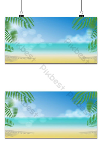 Sunny day under coconut trees shade on the beach, sea, clouds and clear sky background Backgrounds Template EPS