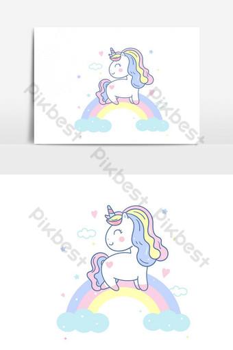 lindo vector de unicornio en el cielo y dulce arco iris kawaii pony elemento gráfico de vector de dibujos animados Elementos graficos Modelo AI