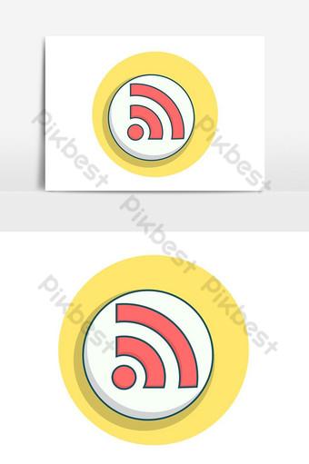 elemento gráfico de vector de icono pop de conexión wifi simple Elementos graficos Modelo PSD